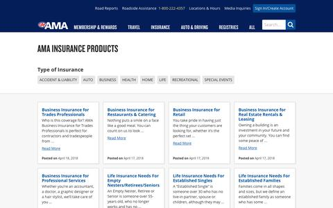 Screenshot of Products Page ama.ab.ca - Insurance Products - AMA - captured Sept. 23, 2018