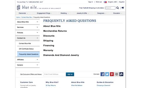 Screenshot of FAQ Page bluenile.com - Frequently Asked Questions | Blue Nile - captured Feb. 22, 2017