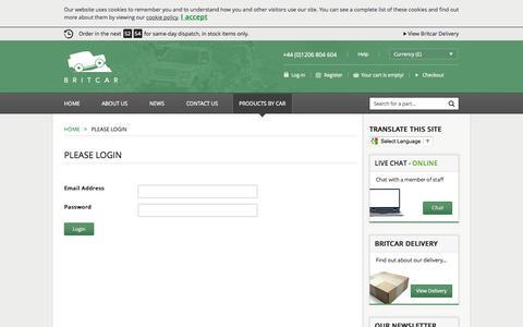 Screenshot of Login Page brit-car.co.uk - Please Login >Home > Britcar (UK) Ltd - captured Sept. 22, 2014