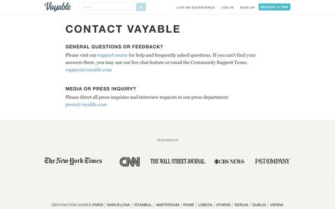 Screenshot of Contact Page vayable.com - Contact us - captured Sept. 11, 2014