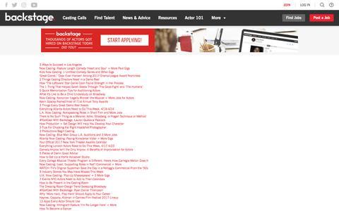 Screenshot of Site Map Page backstage.com - Sitemap | Backstage - captured April 21, 2017