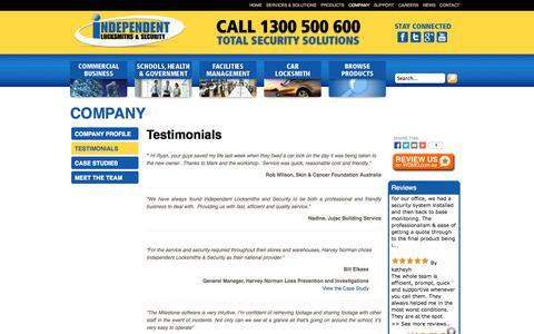 Screenshot of Testimonials Page independentlocksmiths.com.au - Testimonials - Locksmith Parramatta-Security Alarm Systems-CCTV - captured Oct. 6, 2014