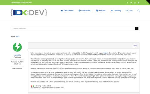 Screenshot of Support Page idxbroker.com - Request: Support SSL for IDX Pages – IDX Broker Developer - captured Aug. 11, 2017