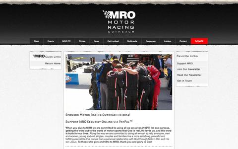 Screenshot of Support Page go2mro.com - Support Motor Racing Outreach, Serving the NASCAR Community Since 1988 - captured Oct. 26, 2014