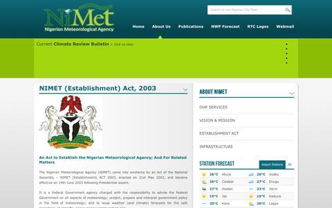 Screenshot of About Page nimet.gov.ng - NIMET (Establishment) Act, 2003 | Nigerian Meteorological Agency - captured Feb. 22, 2016