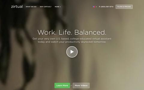 Screenshot of Home Page zirtual.com - Zirtual ·        U.S. Based Virtual Assistants for Busy People. - captured Sept. 17, 2014