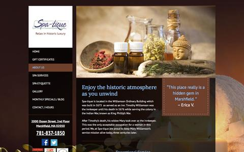 Screenshot of About Page spatique.biz - About Spa-tique   Massage   Facials   Waxing   Marshfield, MA Day Spa - captured Feb. 27, 2016