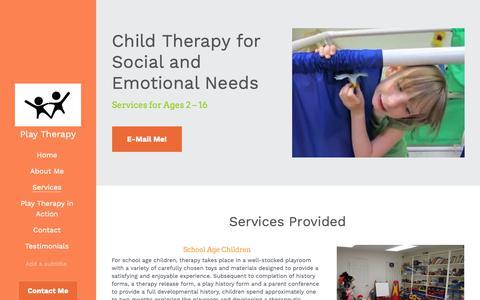 Screenshot of Services Page erikasurkin.com - Services - Erika L. Surkin Play Therapy - captured Sept. 28, 2018