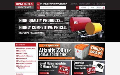 Screenshot of Home Page rpm-fuels.co.uk - RPM Fuels and Tanks - Oil Storage Tanks, Bowsers & Fuel Pumps - captured Sept. 22, 2018
