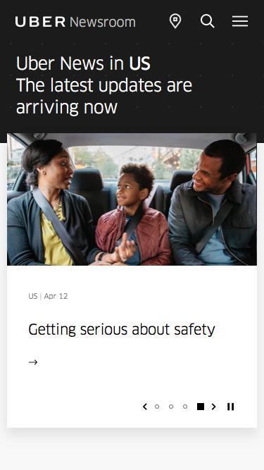 Screenshot of Press Page  uber.com - US Latest News | Uber Newsroom