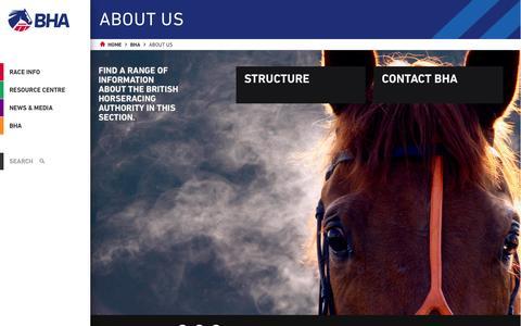 Screenshot of About Page britishhorseracing.com - About Us | The British Horseracing Authority - captured Oct. 31, 2014