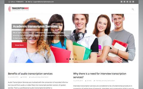 Screenshot of Blog transcriptionwave.com - Transcriptionwave Blog - Transcription services articles - captured Feb. 17, 2016