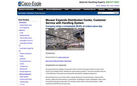 Screenshot of Case Studies Page cisco-eagle.com - Expanded distribution center conveyor system for Mouser Electronics - captured Jan. 5, 2017