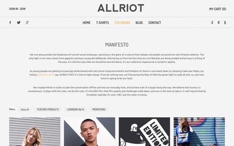 Screenshot of About Page allriot.com - About Us | Political T-Shirts, Funny T-Shirts & UK Urban Streetwear Clothing - captured Oct. 7, 2014