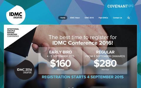 Screenshot of Home Page idmc.org.sg - Home - captured Sept. 18, 2015