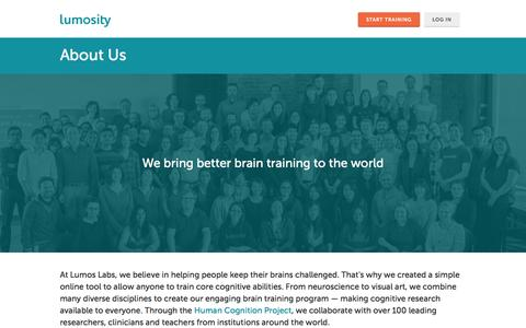 Screenshot of About Page lumosity.com - About Lumosity - a Leading Brain Training Program Designed by Neuroscientists - Lumosity - captured Jan. 28, 2017
