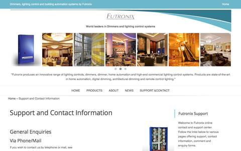 Screenshot of Contact Page Support Page futronix.com - Support and Contact Information -Futronix Ltd - captured Jan. 8, 2016