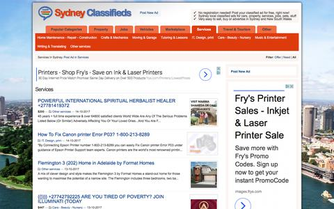 Screenshot of Services Page sydney-classifieds.online - Services   Sydney Classifieds - captured Oct. 15, 2017