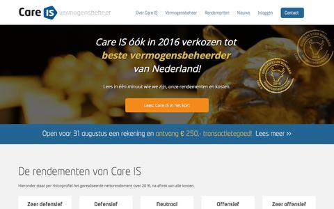 Screenshot of Home Page care-is.nl - Laat uw geld beleggen door Care IS Vermogensbeheer   -Laat uw geld beleggen door Care IS Vermogensbeheer   Care IS vermogensbeheer - captured July 14, 2017