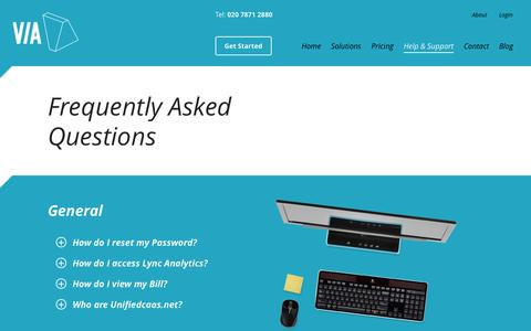 Screenshot of FAQ Page joinvia.com - Help & Support - Frequently Asked Questions - VIA - captured Oct. 26, 2014