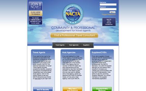 Screenshot of Home Page nacta.com - NACTA - The National Association of Career Travel Agents - captured Sept. 19, 2014