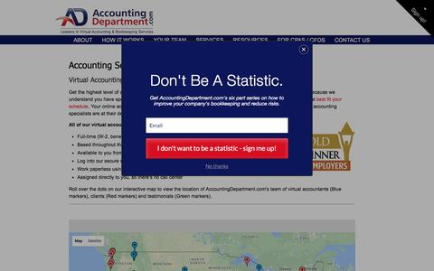 Screenshot of Maps & Directions Page accountingdepartment.com - Online Accounting Service Map For Businesses Across The U.S. - captured March 30, 2017