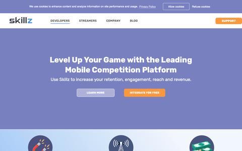 Screenshot of Developers Page skillz.com - Developer - Skillz - captured Feb. 3, 2019