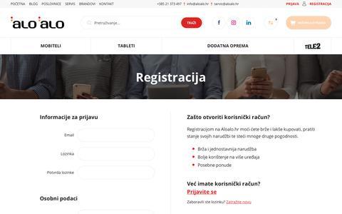 Screenshot of Signup Page aloalo.hr - Registracija - captured Oct. 2, 2018