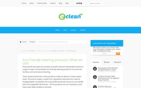 Screenshot of eclean.co.uk - Eco-Friendly Cleaning Products: What We Use! | E Clean Cardiff - captured April 11, 2017