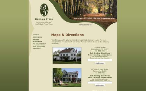 Screenshot of Maps & Directions Page beersandstory.com - Beers & Story Funeral Home: Maps & Directions - captured Oct. 5, 2014