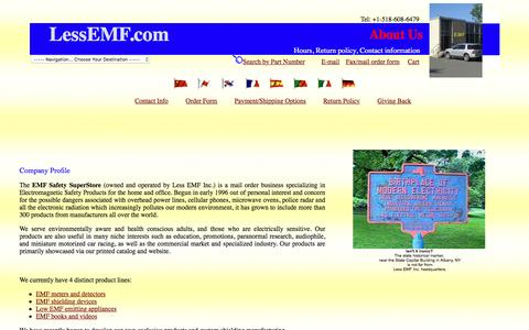 Screenshot of About Page lessemf.com - Information About The EMF Safety SuperStore - captured Feb. 15, 2016
