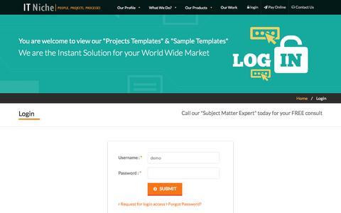 Screenshot of Login Page itniche.com - Login to Professional Web Design, Internet Marketing Firm - captured June 7, 2017