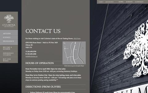 Screenshot of Contact Page culmina.ca - Contact Culmina Family Estate Winery | Okanagan Winery - captured Oct. 3, 2014