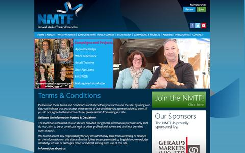 Screenshot of Terms Page nmtf.co.uk - National Market Traders Federation - Terms & Conditions - captured Oct. 27, 2014