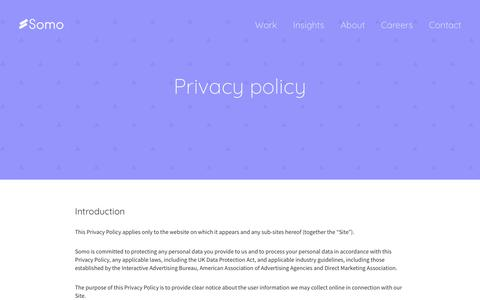 Screenshot of Privacy Page somoglobal.com - Privacy policy | Somo - captured Oct. 22, 2017