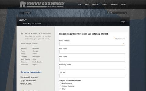 Screenshot of Contact Page rhinoassembly.com - Let us Keep you Informed - captured Oct. 26, 2014