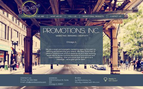 Screenshot of Home Page prombcpromo.com - PROmotions, Inc. - captured July 10, 2017