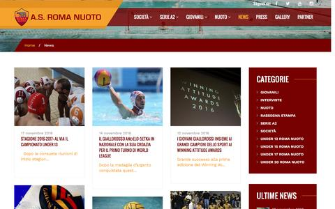 Screenshot of Press Page romanuoto.com - News – A.S. Roma Nuoto - captured Nov. 18, 2016
