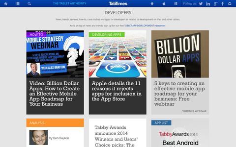 Screenshot of Developers Page tabtimes.com - Tablet and iPad app developers - captured Sept. 22, 2014