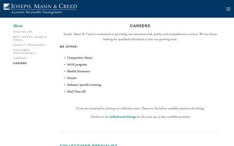 Screenshot of Jobs Page jmcbiz.com - Careers — Joseph, Mann & Creed | Commercial and Consumer Collection Agency - captured Oct. 14, 2018