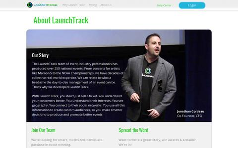 Screenshot of About Page launchtrack.com - LaunchTrack - captured July 19, 2014