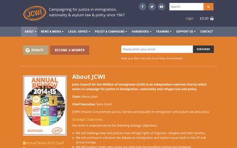 Screenshot of About Page jcwi.org.uk - About JCWI | Joint Council for the Welfare of Immigrants - captured Nov. 27, 2016