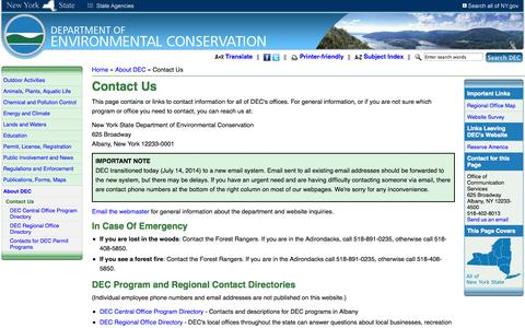 Screenshot of Contact Page ny.gov - Contact Us - NYS Dept. of Environmental Conservation - captured Sept. 19, 2014