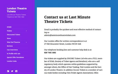 Screenshot of Contact Page lastminutetheatretickets.com - Contact us at LastMinuteTheatreTickets.com - captured Sept. 28, 2015
