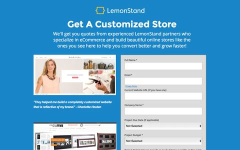 Screenshot of Landing Page lemonstand.com - Cloud eCommerce Platform for Professional Fast Growing Brands & Web Agencies | LemonStand | LemonStand - captured Aug. 19, 2016