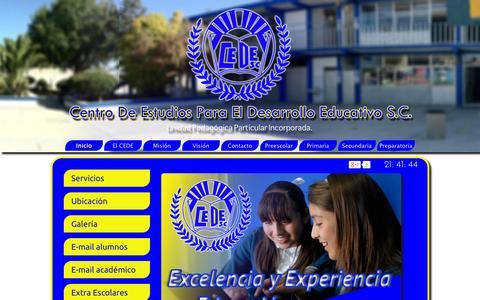 Screenshot of Home Page cedehuehuetoca.com - Escuela, Cede, Colegio, Huehuetoca, Primaria, Secundaria, Preparatoria, Preescolar - captured Oct. 2, 2014