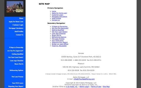 Screenshot of Site Map Page ifyouneedmoney.com - Site Map - Alpha Mortgage, LLC - captured Oct. 4, 2014