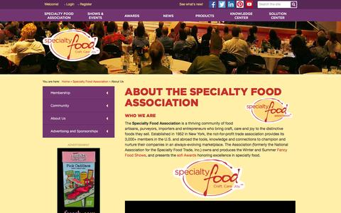 Screenshot of About Page specialtyfood.com - About Us - captured Jan. 14, 2016