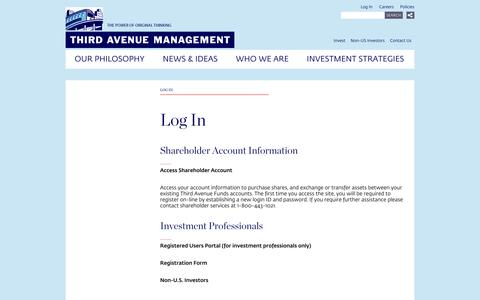 Screenshot of Login Page thirdave.com - Log In | Third Avenue Management - captured Oct. 9, 2014