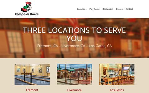 Screenshot of Locations Page campodibocce.com - Campo di Bocce | Three Bay Area Location To Serve You - captured July 15, 2018